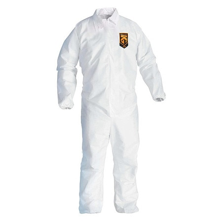 Kimberly-Clark Collared Disposable Coveralls,  L,  24 PK,  White,  SMMMS,  Zipper 49103