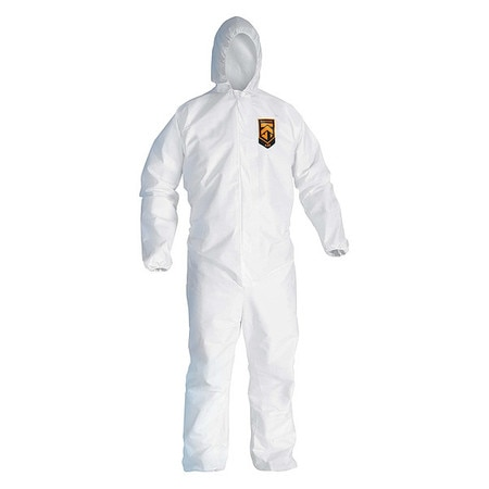Kimberly-Clark Hooded Disposable Coveralls,  2XL,  24 PK,  White,  SMMMS,  Zipper 49115