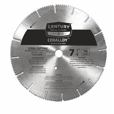 """Century Drill And Tool 7-1/4"""", 16 Slots Iron/Steel Slotted Circular Saw Blade 08207"""