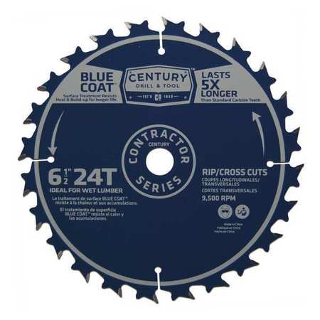"""Century Drill And Tool 6-1/2"""", 24-Teeth Contractor Combination Saw Blade 09467"""