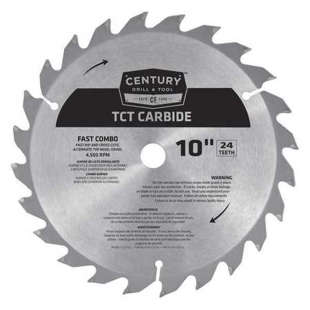 """Century Drill And Tool 10"""", 24-Teeth Carbide Fast Combo Blade, TCT 09930"""
