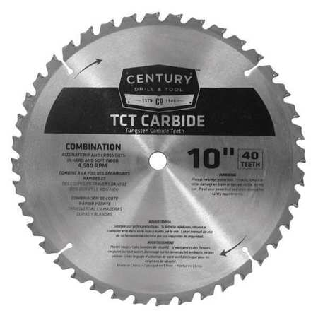 """Century Drill And Tool 10"""", 40-Teeth Carbide Combo Saw Blade, TCT 09934"""