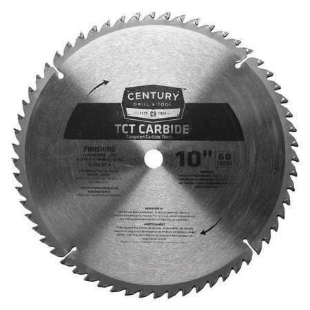 """Century Drill And Tool 10"""", 60-Teeth Carbide Finishing Blade, TCT 09936"""