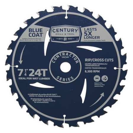 """Century Drill And Tool 7-1/4"""", 24-Teeth Contractor Combination Saw Blade 10203"""