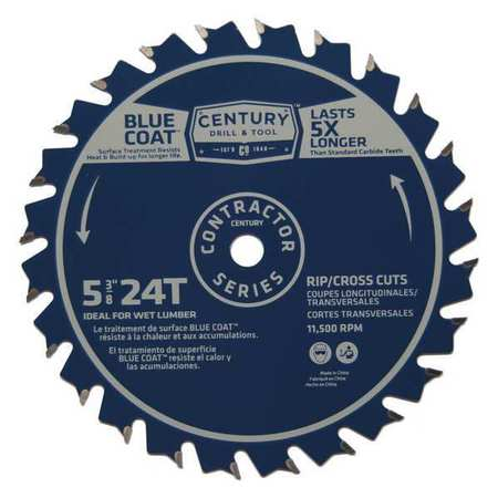 """Century Drill And Tool 5-3/8"""", 24-Teeth Contractor Combination Saw Blade 10253"""