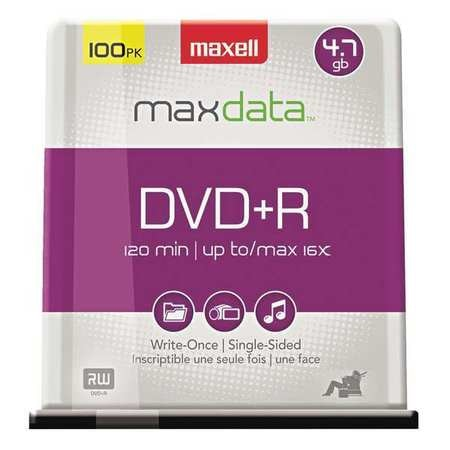 Maxell DVD+RDiscs,  4.7GB,  Spindle,  PK100 639016