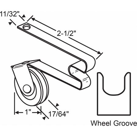 """Zoro Select Roller Assembly, 2-1/2"""" L x 13/32"""" W 10-314"""