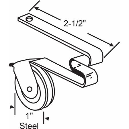 """Zoro Select Roller Assembly, 2-23/32"""" L x 23/64"""" W 10-371"""