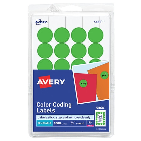 """Avery Avery® Neon Green Color Coding Labels 5468,  3/4"""" Round,  Pack of 1008 727825468"""