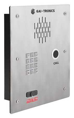 Hubbell Gai-Tronics Telephone, Single Button, VoIP, Silver 398-701