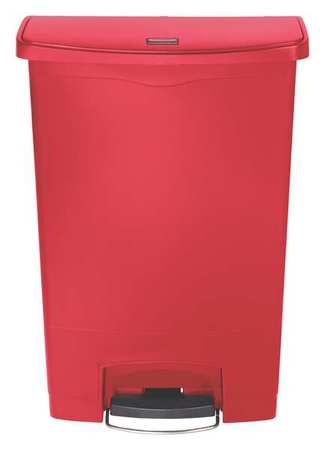24 gal. Red Plastic Rectangular Trash Can
