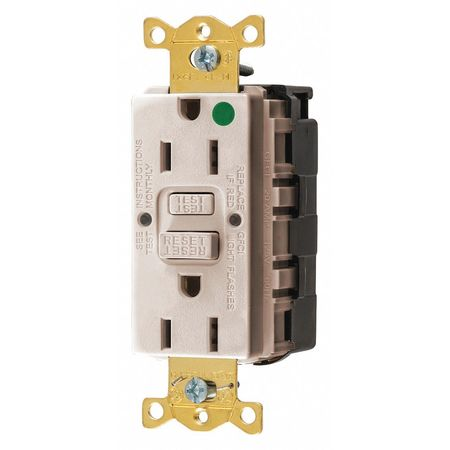 Hubbell Wiring Device-Kellems GFCI Rceptcle, Hspital, Lt Almnd, 15A, 0.5HP GFRST82SNAPLA