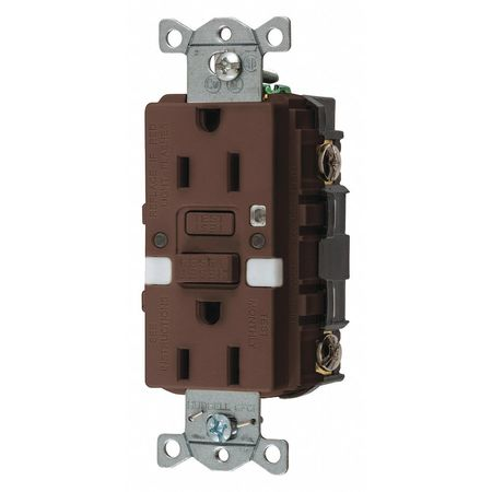 Hubbell Wiring Device-Kellems GFCI Rceptcle, Commer., Brwn, 15A, 0.5 HP GFRST15NL