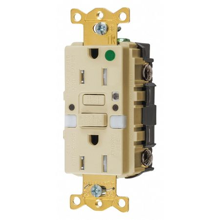 Hubbell Wiring Device-Kellems GFCI Rceptcle, Hspital, Ivry, 15A, 0.5 HP GFTRST82INL
