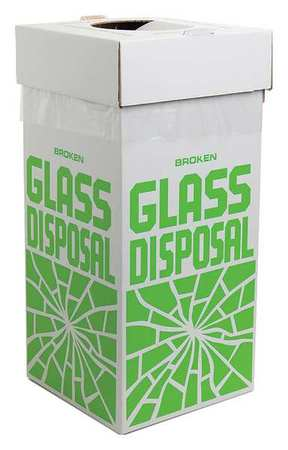 4-1/2 gal. White Square Corrugated Cardboard Square Glass Disposal Container