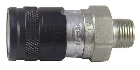 """Safeway Hydraulics Hydraulic Quick Connect Hose Coupling,  Steel Body,  Push-to-Connect Lock,  3/8""""-18 Thread Size FF495-3M"""