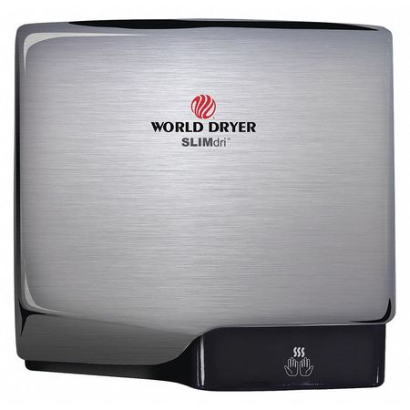 World Dryer Brushed Chrome,  Yes ADA,  110 to 120 VAC,  Automatic Hand Dryer L-971A