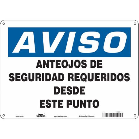 """Condor Safety Sign, 14"""" W, 10"""" H, 0.055"""" Thickness 486D36"""