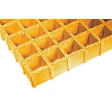 Fibergrate Molded Grating,  60 in Span,  Grit-Top Surface,  Corvex Resin,  Yellow 878864