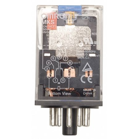 Omron General Purpose Relay,  12V DC Coil Volts,  Octal,  8 Pin,  DPDT MKS2PIDC12