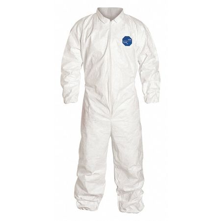 Dupont Collared Disposable Coveralls ,  5XL ,  White ,  Tyvek(R) 400 ,  zipper TY125SWH5X0025VP