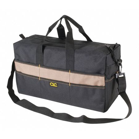 """Clc Wide-Mouth Tool Bag,  Polyester,  17 Pockets,  Black/Beige,  9"""" Height 1113"""