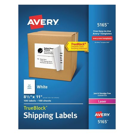 """Avery Avery® Shipping Labels with TrueBlock® Technology for Laser Printers 5165,  8-1/2"""" x 11"""",  100 Labels 7278205165"""
