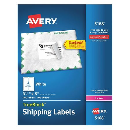 """Avery Avery® Shipping Labels with TrueBlock® Technology for Laser Printers 5168,  3-1/2"""" x 5"""",  400 Labels 7278205168"""