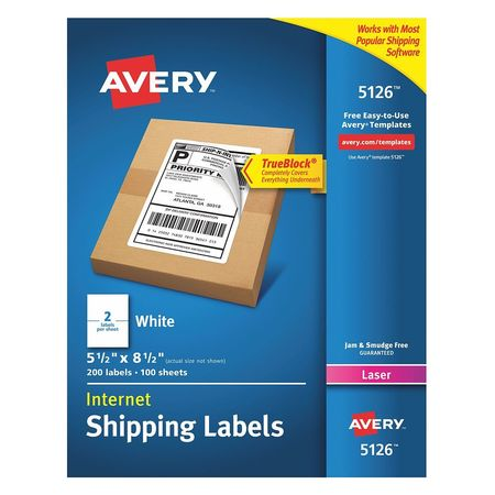 """Avery Avery® Internet Shipping Labels with TrueBlock® Technology for Laser Printers 5126,  5-1/2"""" x 8-1/2"""",  200 Labels 7278205126"""