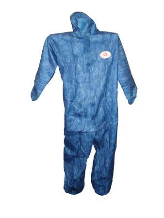 Viroguard Hooded Chemical Resistant Coveralls ,  L ,  Blue ,  Viroguard(R) ,  2407-L