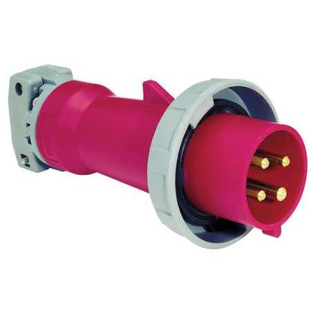 IEC Pin and Sleeve Plug, 3P, 4W, 100A, 480V Wiring Sleeve on