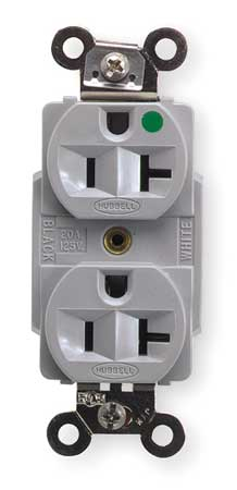 Hubbell Wiring Device-Kellems 20A Duplex Receptacle 125VAC 5-20R GY HBL8300GY