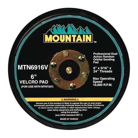 """Mountain Backing Pad, 6"""", 5/16""""x24"""", Hook-and-Loop 6916V"""