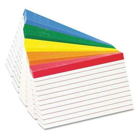 """Oxford Index Cards, 3x5"""", Ruled, Assorted, PK100 04753"""