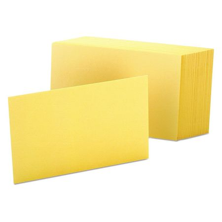 """Oxford Index Cards, Plain, 4x6"""", Canary, PK100 7420-CAN"""