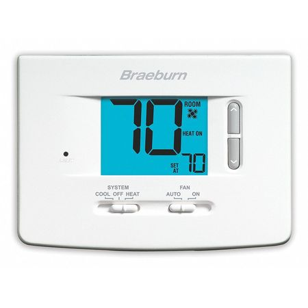 Braeburn Non-Programmable Thermostat ,  1 H 1 C,  Wall Mount,  Hardwired/Battery ,  1020