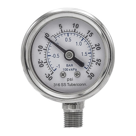 Pic Gauges Compound Gauge,  -30 to 0 to 30 in Hg/psi,  1/8 in MNPT,  Silver 301D-158CC