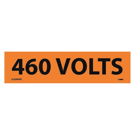 Nmc ELECTRICAL MARKERS,  460 VOLTS,  1.25X4.5,  PS VINYL,  PK25 JL22043O