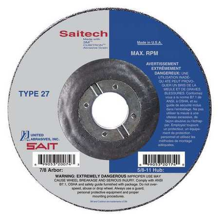 SAIT 22084 Type 27 7 by 3//32 by 7//8 United Abrasives SAITech Cutting Wheel 25-Pack United Abrasives