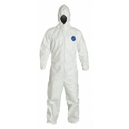 Dupont Hooded Disposable Coveralls ,  4Xl ,  White ,  Tyvek(R) 400 ,  zipper TY127SWH4X0025VP