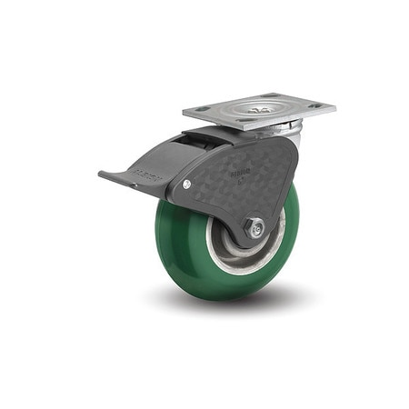 """Albion 6"""" X 2"""" Non-Marking Polyurethane Round Swivel Caster,  Total Lock Brake,  Loads Up To 1250 lb 16PM06228ST"""