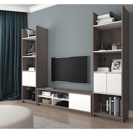 Bestar TV Stand, 2 Storge Tower, Small Spaces, Wht 16853-47