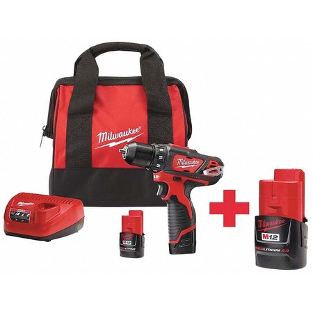Milwaukee 3/8 in,  12.0 Cordless Drill,  Battery Included 2407-22, 48-11-2420