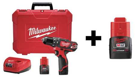 Milwaukee 12.0 V Hammer Drill,  Battery Included,  3/8 in Chuck 7DF42
