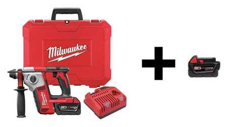 Milwaukee Rotary Hammer with Add Battery,  18V 2612-21 / 48-11-1840