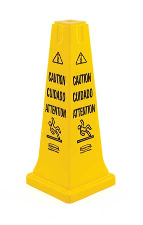 Rubbermaid Safety Cone,  Caution,  Eng/Sp/Fr FG627700YEL