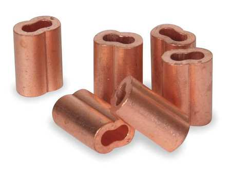 Copper Dayton Wire Rope Sleeve for Wire Rope Dia 5//32 PK 25 Zinc Plated Copper 2VKA7-1 Each
