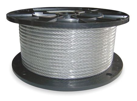 Dayton SS Cable, 1/4 In, 250 Ft, 1280 lb. Capacity 1DLC7