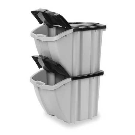 Suncast Black/Gray Storage Tote with Snap Lid 24 3/8 in x 18 1/4 in x 17 in H,  BH1888102PK
