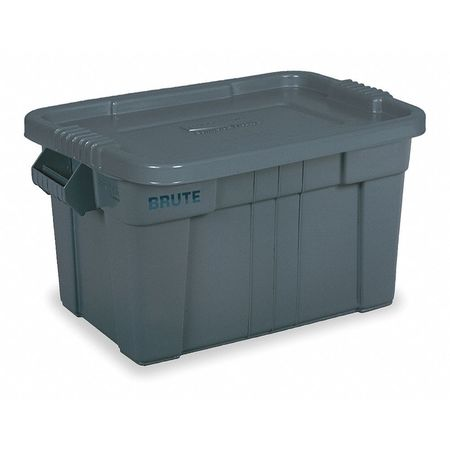 Rubbermaid Gray Storage Tote with Snap Lid 27 7/8 in x 17 4/5 in x 15 1/8 in H,  FG9S3100GRAY